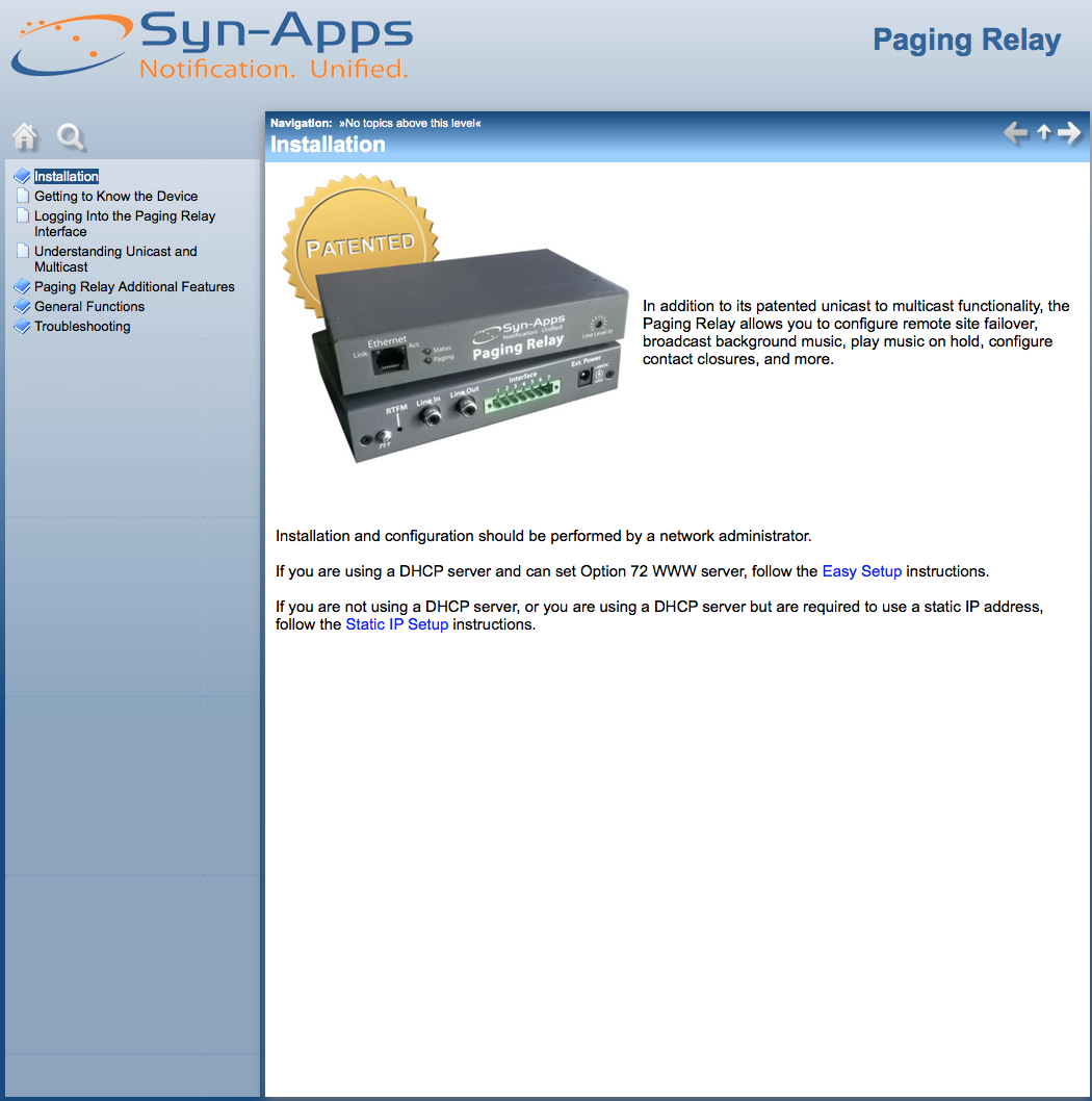 Paging Relay User Guide