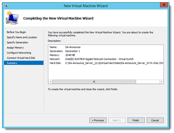 SA-Announce on Windows Server as a Virtual Appliance