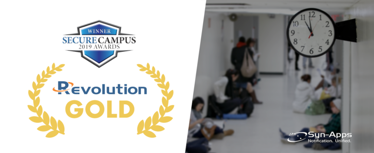 Revolution wins Gold Designation in the 2019 Secure Campus Awards for the Emergency Notification / Mass Notification category