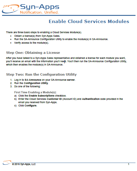Quick Start: Enable Cloud Modules